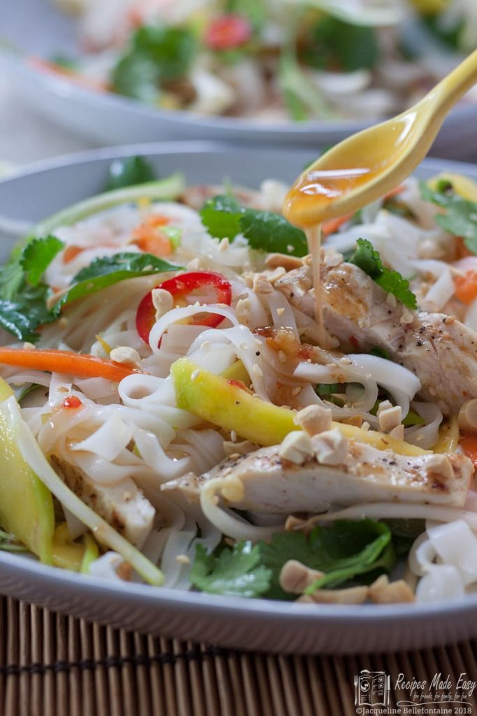 A fresh tasting noodle salad with strips of chargrilled chicken and a sweet chilli dressing.