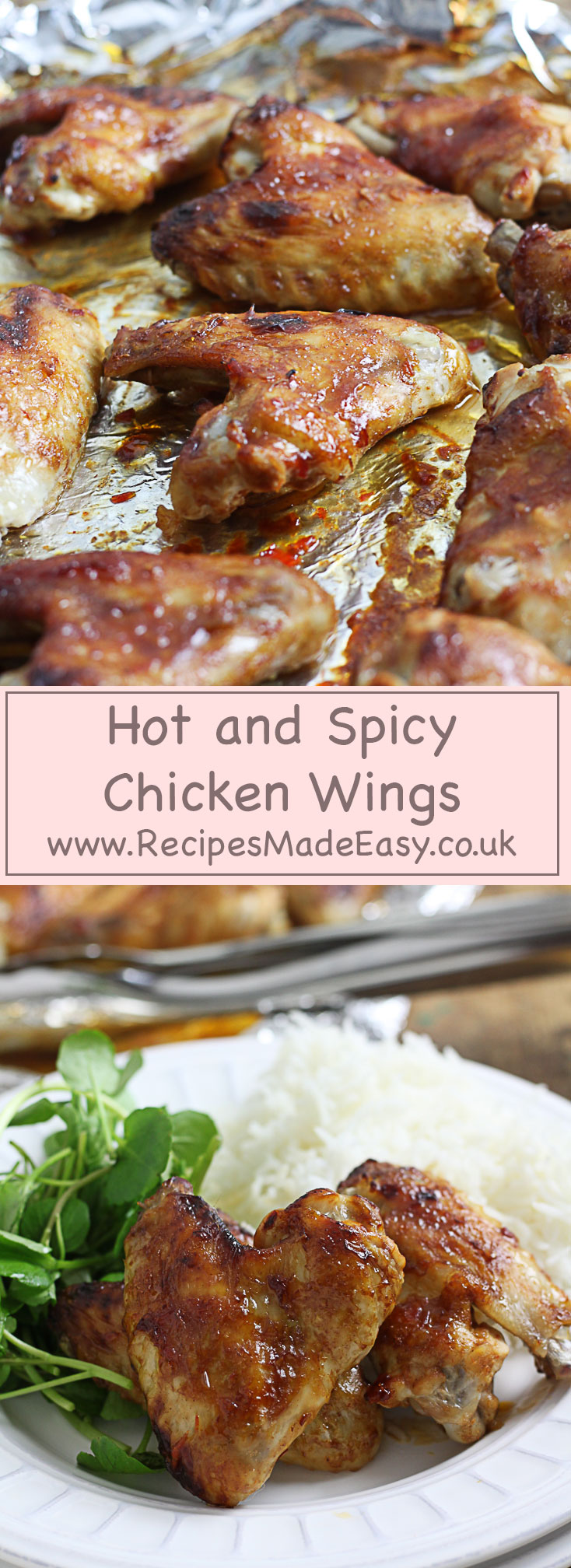 hot and spicy chicken wings on a baking sheet and served with rice