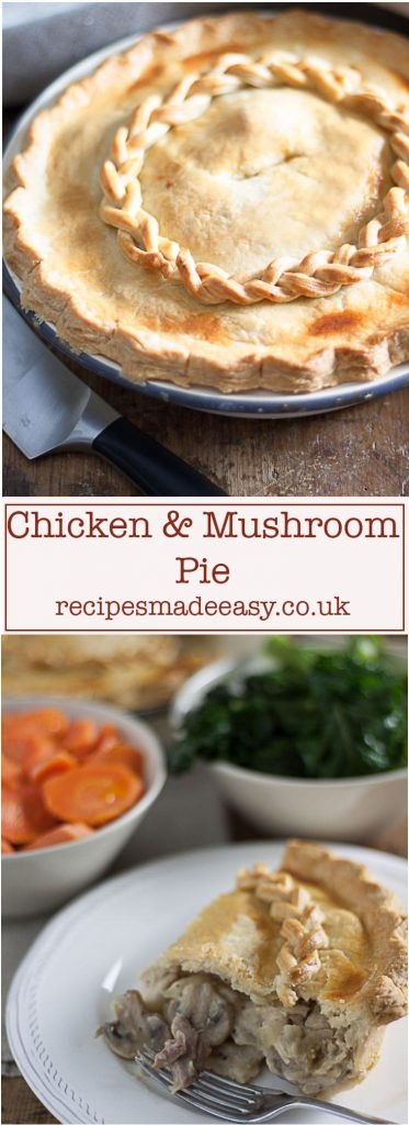 deep filled chicken and mushroom pie by recipesmadeeasy.co.uk