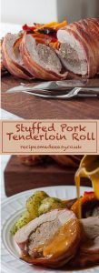 Stuffed pork tenderloin roll by Recipes Made Easy showed on board and plated with gravy
