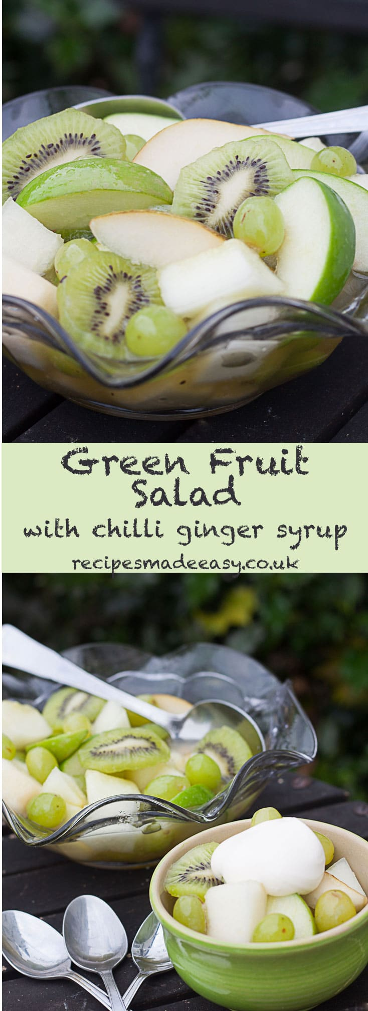 Green fruit salad with chilli ginger syrup - by Recipes Made Easy