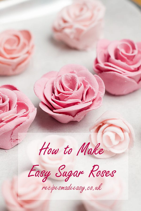 sugar roses on baking parchment