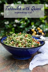 bowl of tabbouleh with quinoa and text overlay