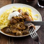 easy sausage stroganoff served with tagliatelle