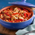 oven dish with chicken, chickpea and red peppers casserole