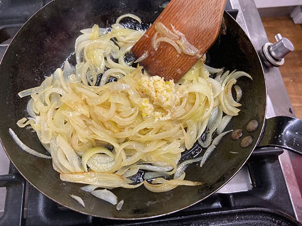 softened onion and garlic in pan.